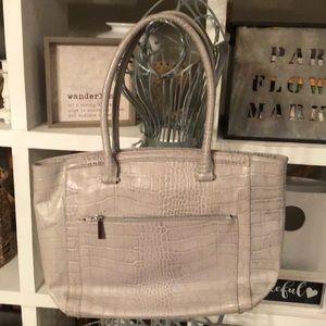 Halogen light-gray embossed leather handbag